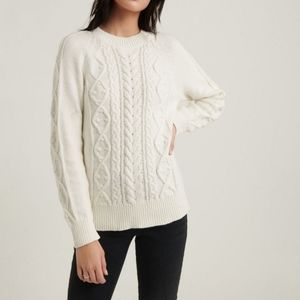 Lucky Brand Crew Neck Cable Knit Popover Long Sleeve Knit Sweater Snow White S